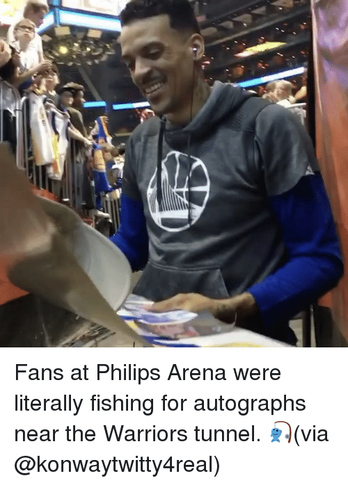 Basketball, Golden State Warriors, and Sports: r Fans at Philips Arena were literally fishing for autographs near the Warriors tunnel. 🎣(via @konwaytwitty4real)
