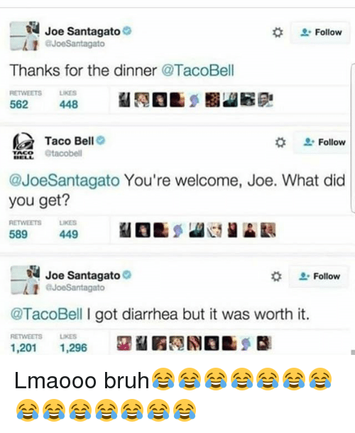 Bruh, Funny, and Taco Bell: R Joe Santagato e  Follow  1 JoeSantagato  Thanks for the dinner @TacoBell  RETTWEETS LKES  448  562  Taco Bell  Follow  TACO  @JoeSantagato You're welcome, Joe. What did  you get?  REWEETS LIKES  589  449  N Joe Santagato  Follow  gato  @TacoBell I got diarrhea but it was worth it.  RETWEETS LIKES  1,201  1,296 Lmaooo bruh😂😂😂😂😂😂😂😂😂😂😂😂😂😂