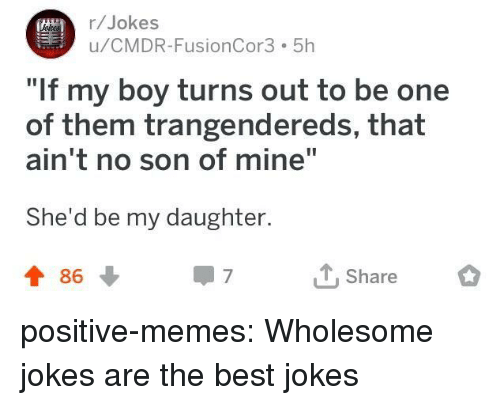 "Best Jokes: r/Jokes  u/CMDR-FusionCor3 5h  If my boy turns out to be one  of them trangendereds, that  ain't no son of mine""  She'd be my daughter.  t 86  T Share positive-memes:  Wholesome jokes are the best jokes"