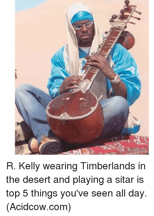 Acidcow Com: R. Kelly wearing Timberlands in the desert and playing a sitar is top 5 things you've seen all day. (Acidcow.com)