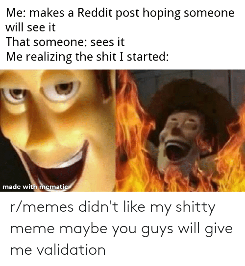 Meme, Memes, and Will: r/memes didn't like my shitty meme maybe you guys will give me validation