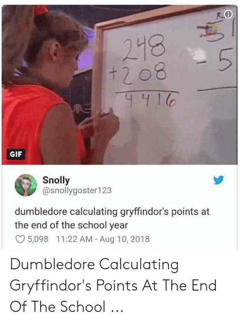 Dumbledore, Gif, and School: R.O  248  51  +208  4416  GIF  Snolly  @snollygoster123  dumbledore calculating gryffindor's points at  the end of the school year  5,098 11:22 AM - Aug 10, 2018 Dumbledore Calculating Gryffindor's Points At The End Of The School ...