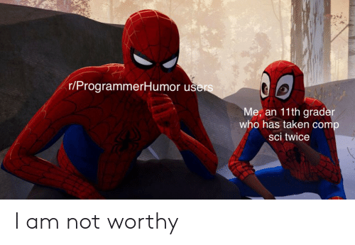 sci: r/ProgrammerHumor u  Me, an 11th grade  who has taken comp  sci twice I am not worthy