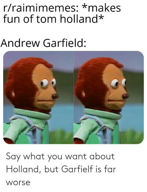 Andrew Garfield: r/raimimemes: *makes  fun of tom holland*  Andrew Garfield: Say what you want about Holland, but Garfielf is far worse
