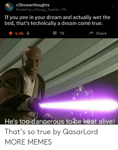 pee: r/Showerthoughts  Posted by u/Young_Toaster 7h  If you pee in your dream and actually wet the  bed, that's technically a dream come true.  6.4k  78  Share  He's too dangerous to be kept alive! That's so true by QasarLord MORE MEMES