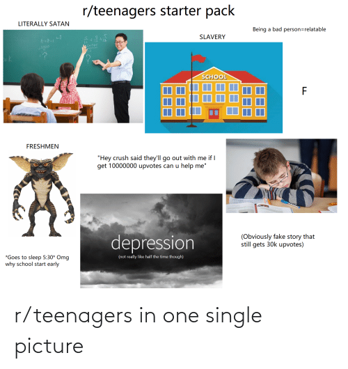 """Omg Why: r/teenagers starter pack  LITERALLY SATAN  Being a bad person=relatable  SLAVERY  12  45+7+5  12  -?  ok  SCHOOL  FRESHMEN  """"Hey crush said they'll go out with me if I  get 10000000 upvotes can u help me""""  depression  (Obviously fake story that  still gets 30k upvotes)  *Goes to sleep 5:30* Omg  why school start early  (not really like half the time though) r/teenagers in one single picture"""