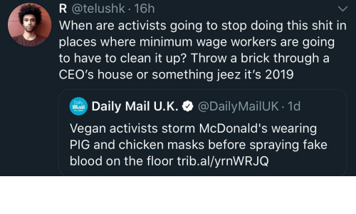Minimum Wage: R @telushk 16h  When are activists going to stop doing this shit in  places where minimum wage workers are going  to have to clean it up? Throwa brick through a  CEO's house or something jeez it's 2019  Daily Mail U.K. @DailyMailUK 1d  Daily  Mail  Vegan activists storm McDonald's wearing  PIG and chicken masks before spraying fake  blood on the floor trib.al/yrnWRJQ