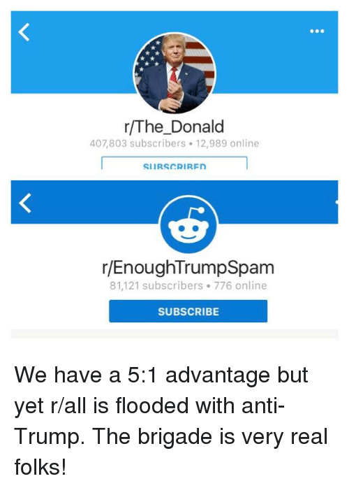 R Enoughtrumpspam: r/The Donald  407,803 subscribers. 12,989 online  SIIRS CRIRFn  r/EnoughTrumpSpam  81,121 subscribers. 776 online  SUBSCRIBE