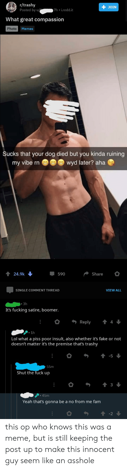 Thats Gonna Be A No: r/trashy  Posted by u/  JOIN  7h i.redd.it  What great compassion  Photo  Memes  Sucks that your dog died but you kinda ruining  wyd later? aha  my vibe rn  24.9k  590  Share  SINGLE COMMENT THREAD  VIEW ALL  Зh  It's fucking satire, boomer.  Reply  1h  Lol what a piss poor insult, also whether it's fake or not  doesn't matter it's the premise that's trashy  55m  Shut the fuck up  3  45m  Yeah that's gonna be a no from me fam this op who knows this was a meme, but is still keeping the post up to make this innocent guy seem like an asshole
