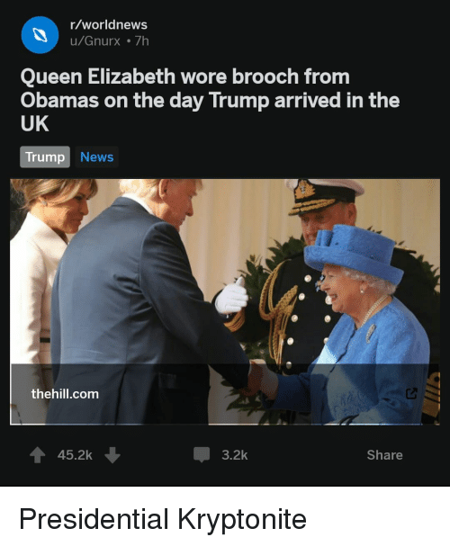 rworldnews ugnurx 7h queen elizabeth wore brooch from obamas on the