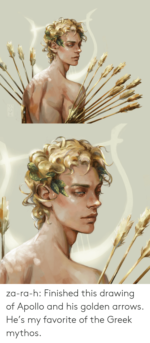 Arrows: RA za-ra-h:  Finished this drawing of Apollo and his golden arrows. He's my favorite of the Greek mythos.