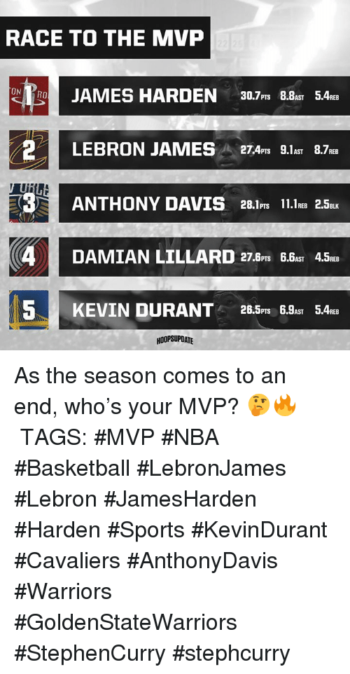 Basketball, Nba, and Sports: RACE TO THE MVP  ON  2LEBRON JAMES 27A L.1as 8.7  PTS AST  ANTHONY DAVIS  25  4DAMIAN LILLARD 27.Bs a45t  PTSD  5KEVIN DURANT 28.5m 6.a 5Aa  PTS 6.AST  HOOPSUPDATE As the season comes to an end, who's your MVP? 🤔🔥 ⠀⠀⠀⠀⠀⠀⠀⠀⠀ TAGS: #MVP #NBA #Basketball #LebronJames #Lebron #JamesHarden #Harden #Sports #KevinDurant #Cavaliers #AnthonyDavis #Warriors #GoldenStateWarriors #StephenCurry #stephcurry