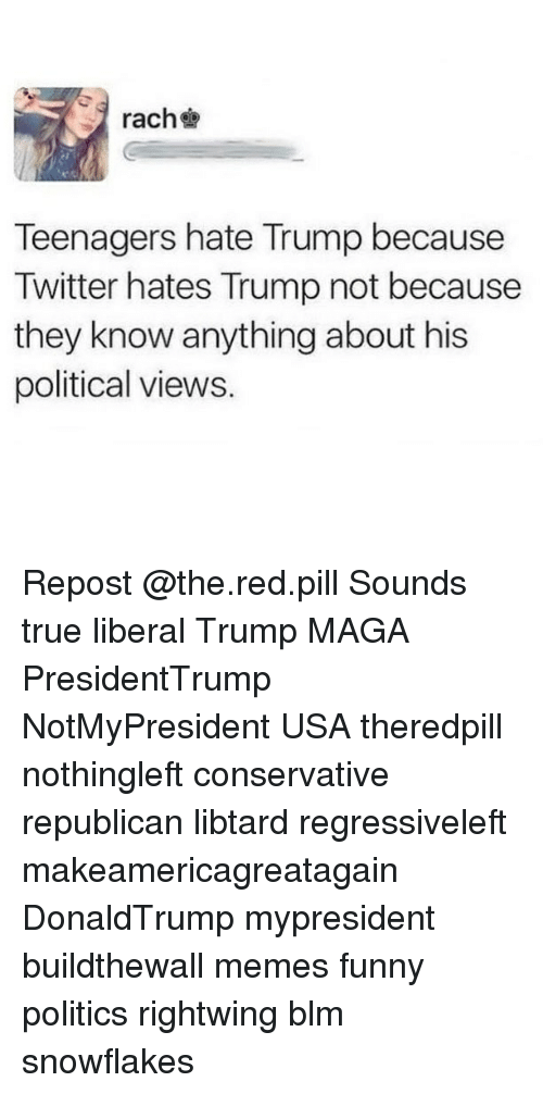 Hate Trump: rach  Teenagers hate Trump because  Twitter hates Trump not because  they know anything about his  political views. Repost @the.red.pill Sounds true liberal Trump MAGA PresidentTrump NotMyPresident USA theredpill nothingleft conservative republican libtard regressiveleft makeamericagreatagain DonaldTrump mypresident buildthewall memes funny politics rightwing blm snowflakes