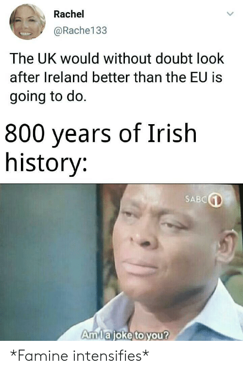 Ireland: Rachel  @Rache133  The UK would without doubt look  after Ireland better than the EU is  going to do.  800 years of Irish  history:  SABC  Amlajoke to you? *Famine intensifies*