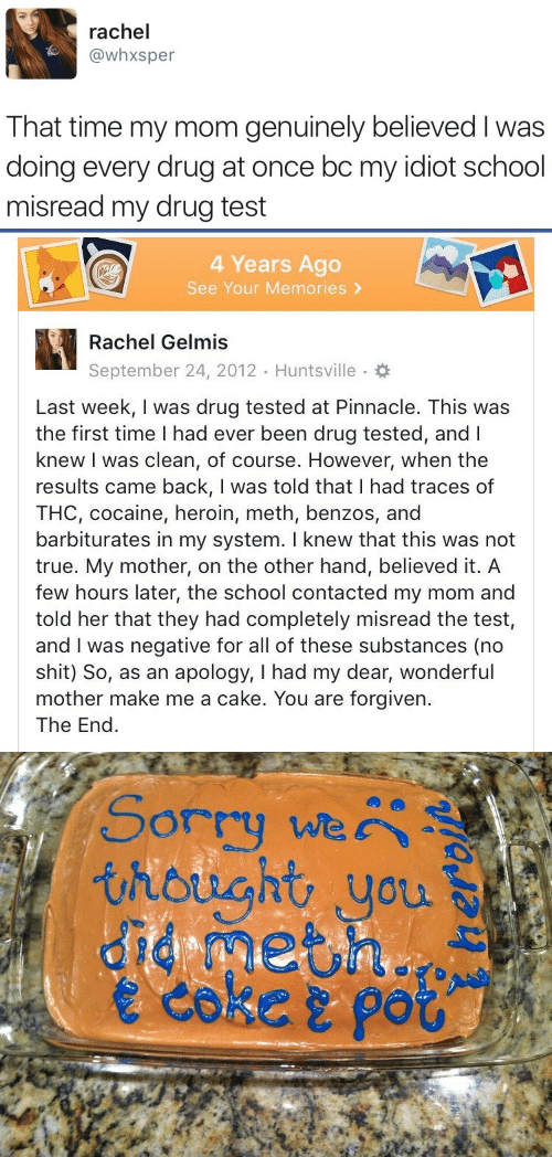 You Are Forgiven: rachel  @whxsper  That time my mom genuinely believed I was  doing every drug at once bc my idiot school  misread my drug test   4 Years Ago  See Your Memories >  Rachel Gelmis  September 24, 2012 Huntsville.  Last week, I was drug tested at Pinnacle. This was  the first time I had ever been drug tested, andl  knew I was clean, of course. However, when the  results came back, I was told that I had traces of  THC, cocaine, heroin, meth, benzos, and  barbiturates in my system. I knew that this was not  true. My mother, on the other hand, believed it. A  few hours later, the school contacted my mom and  told her that they had completely misread the test,  and I was negative for all of these substances (no  shit) So, as an apology, I had my dear, wonderful  mother make me a cake. You are forgiven.  The End   Sorry we  thought you