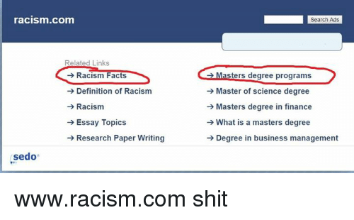 Types of essays on Racism