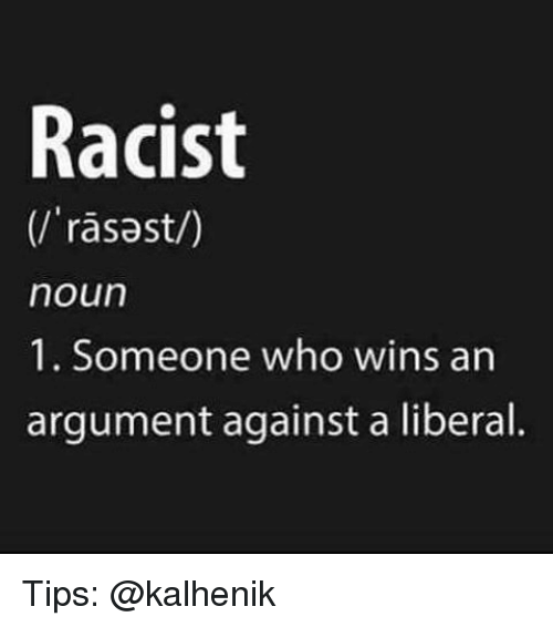 Memes, Racist, and 🤖: Racist  rasast/)  noun  1. Someone who wins an  argument against a liberal. Tips: @kalhenik