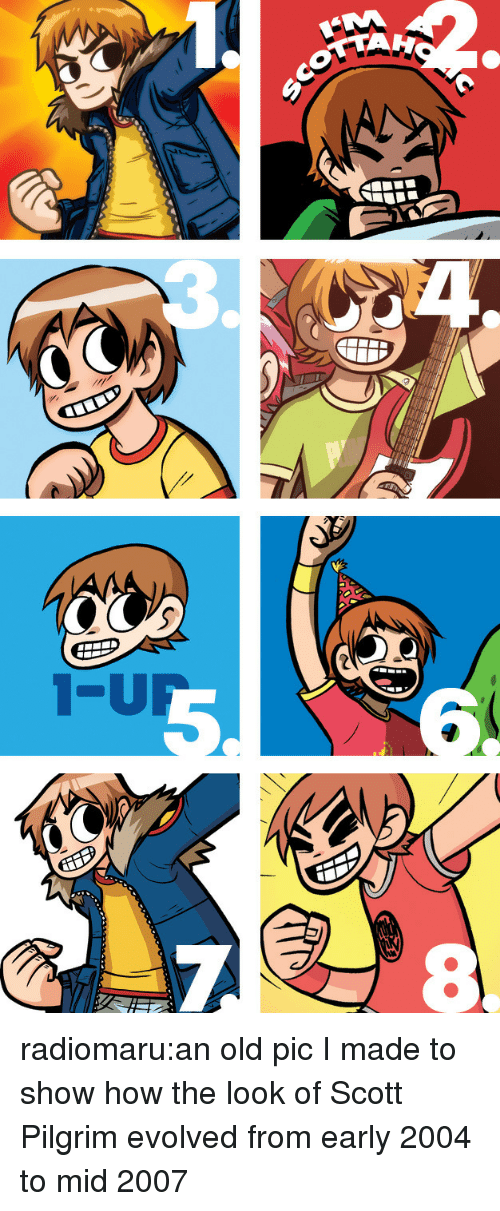 pilgrim: radiomaru:an old pic I made to show how the look of Scott Pilgrim evolved from early 2004 to mid 2007