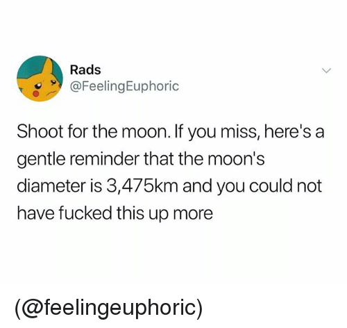 Moon, Dank Memes, and The Moon: Rads  FeelingEuphoric  Shoot for the moon. If you miss, here's a  gentle reminder that the moon's  diameter is 3,475km and you could not  have fucked this up more (@feelingeuphoric)