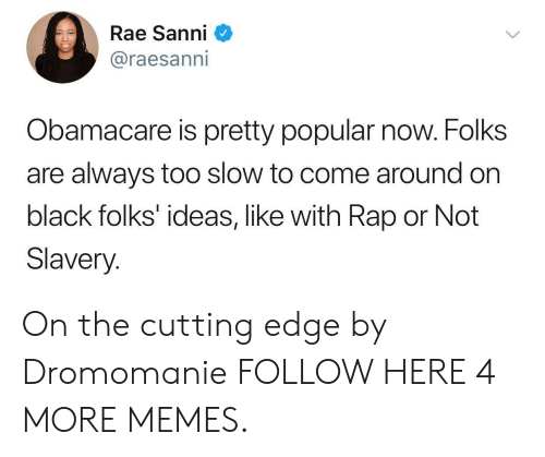 Obamacare: Rae Sanni  @raesanni  Obamacare is pretty popular now. Folks  are always too slow to come around on  black folks' ideas, like with Rap or Not  Slavery. On the cutting edge by Dromomanie FOLLOW HERE 4 MORE MEMES.