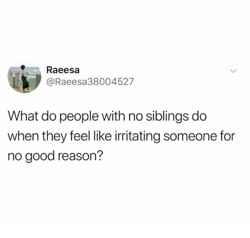 irritating: Raeesa  @Raeesa38004527  What do people with no siblings do  when they feel like irritating someone for  no good reason?