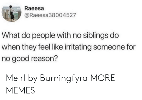 irritating: Raeesa  @Raeesa38004527  What do people with no siblings do  when they feel like irritating someone for  no good reason? MeIrl by Burningfyra MORE MEMES