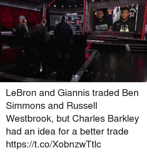 Russell Westbrook: RAFT  23  TEAM LEBRON  BURANT  LEONARD  21 LeBron and Giannis traded Ben Simmons and Russell Westbrook, but Charles Barkley had an idea for a better trade https://t.co/XobnzwTtlc