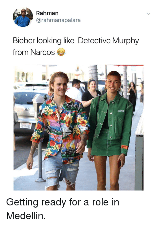 Narcos: Rahman  @rahmanapalara  Bieber looking like Detective Murphy  from Narcos Getting ready for a role in Medellin.