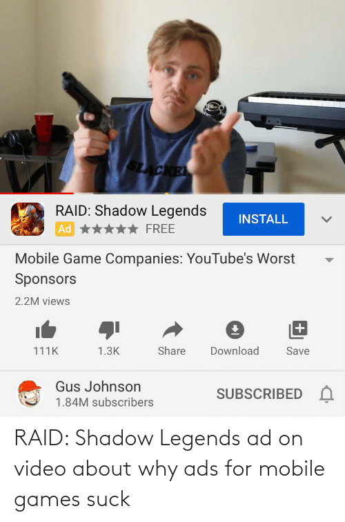 mobile games: RAID: Shadow Legends ad on video about why ads for mobile games suck