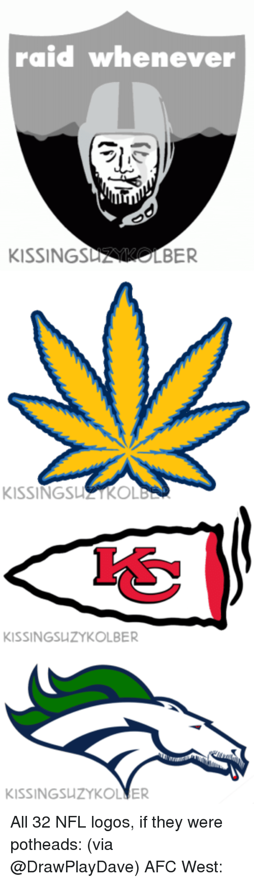 NFL: raid whenever  KISSING  LBER   KISSINGSLI KOL   KISSINGSUZYKOLBER   KISSINGSLIZYKOLNER All 32 NFL logos, if they were potheads: (via @DrawPlayDave) AFC West: