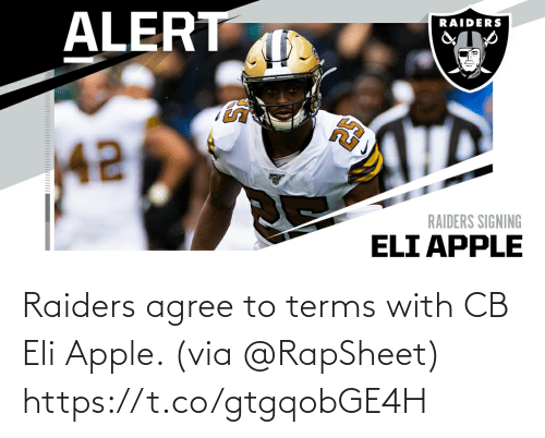 Apple: Raiders agree to terms with CB Eli Apple. (via @RapSheet) https://t.co/gtgqobGE4H