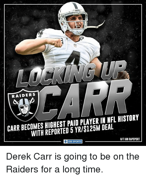 derek carr: RAIDERS  CARR BECOMES HIGHEST PAID PLAYER IN NFL HISTORY  WITH REPORTED 5 YR/$125M DEAL  HITIAN RAPOPORT  CBS SPORTS Derek Carr is going to be on the Raiders for a long time.