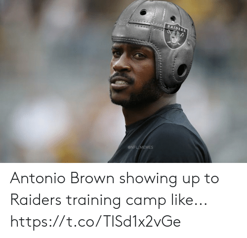 camp: RAIDERS  @NFL MEMES Antonio Brown showing up to Raiders training camp like... https://t.co/TISd1x2vGe
