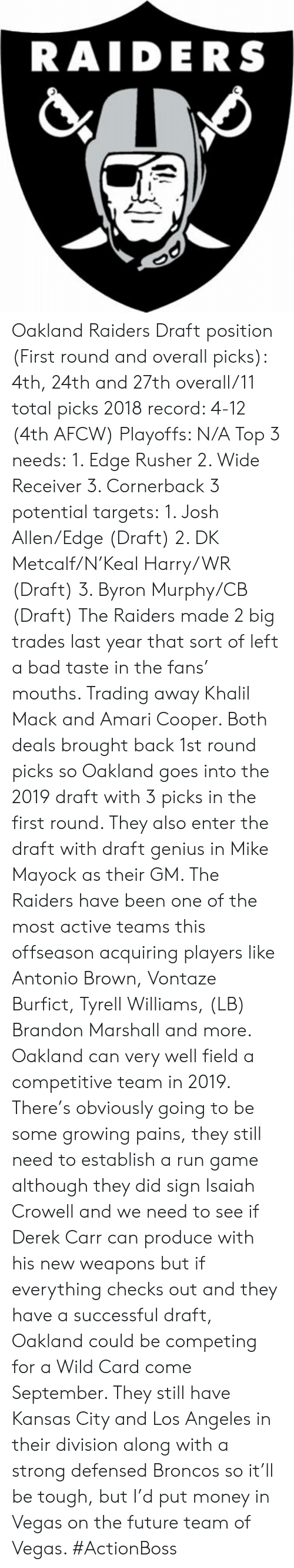 derek carr: RAIDERS Oakland Raiders  Draft position (First round and overall picks): 4th, 24th and 27th overall/11 total picks  2018 record: 4-12 (4th AFCW) Playoffs: N/A  Top 3 needs: 1. Edge Rusher 2. Wide Receiver  3. Cornerback  3 potential targets: 1. Josh Allen/Edge (Draft) 2. DK Metcalf/N'Keal Harry/WR (Draft) 3. Byron Murphy/CB (Draft)  The Raiders made 2 big trades last year that sort of left a bad taste in the fans' mouths. Trading away Khalil Mack and Amari Cooper. Both deals brought back 1st round picks so Oakland goes into the 2019 draft with 3 picks in the first round. They also enter the draft with draft genius in Mike Mayock as their GM. The Raiders have been one of the most active teams this offseason acquiring players like Antonio Brown, Vontaze Burfict, Tyrell Williams, (LB) Brandon Marshall and more. Oakland can very well field a competitive team in 2019. There's obviously going to be some growing pains, they still need to establish a run game although they did sign Isaiah Crowell and we need to see if Derek Carr can produce with his new weapons but if everything checks out and they have a successful draft, Oakland could be competing for a Wild Card come September. They still have Kansas City and Los Angeles in their division along with a strong defensed Broncos so it'll be tough, but I'd put money in Vegas on the future team of Vegas.  #ActionBoss