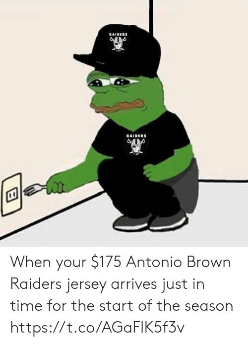 jersey: RAIDERS  RAIDERS When your $175 Antonio Brown Raiders jersey arrives just in time for the start of the season https://t.co/AGaFIK5f3v