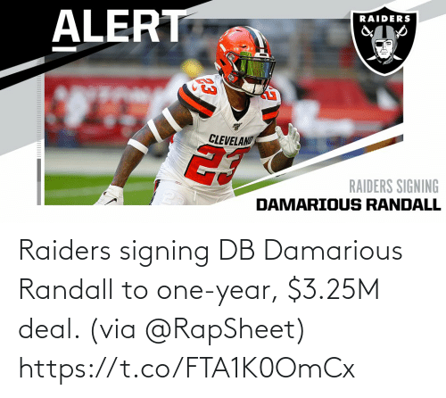 Signing: Raiders signing DB Damarious Randall to one-year, $3.25M deal. (via @RapSheet) https://t.co/FTA1K0OmCx