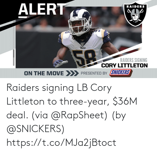 Raiders: Raiders signing LB Cory Littleton to three-year, $36M deal. (via @RapSheet)  (by @SNICKERS) https://t.co/MJa2jBtoct