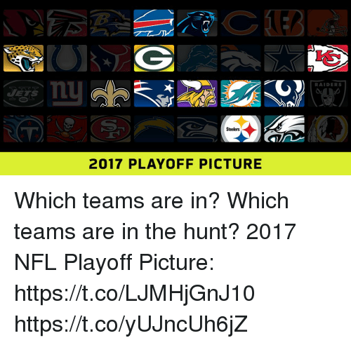 Memes, Nfl, and Nfl Playoff: RAIDERS  Steelers  2017 PLAYOFF PICTURE Which teams are in? Which teams are in the hunt?  2017 NFL Playoff Picture: https://t.co/LJMHjGnJ10 https://t.co/yUJncUh6jZ