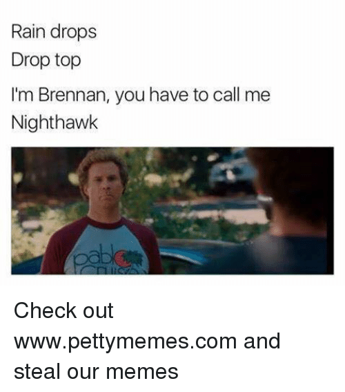nighthawk: Rain drops  Drop top  I'm Brennan, you have to call me  Nighthawk Check out www.pettymemes.com and steal our memes