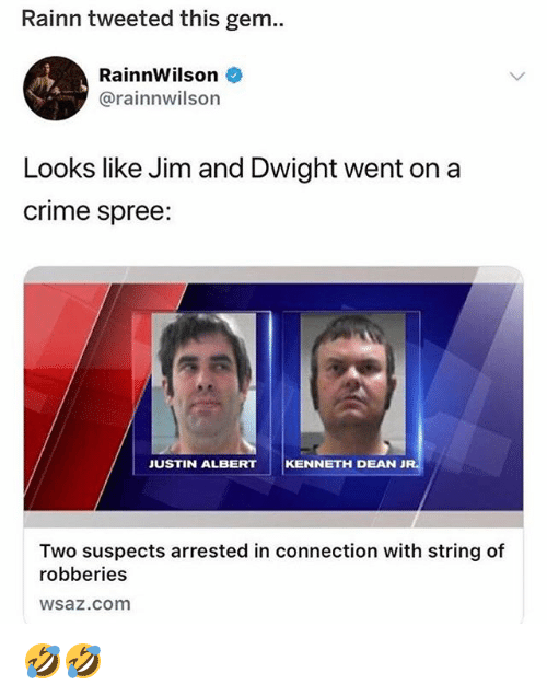 Crime, Memes, and 🤖: Rainn tweeted this gem..  RainnWilson  @rainnwilson  Looks like Jim and Dwight went on a  crime spree:  JUSTIN ALBERT  KENNETH DEAN  Two suspects arrested in connection with string of  robberies  wsaz.com 🤣🤣