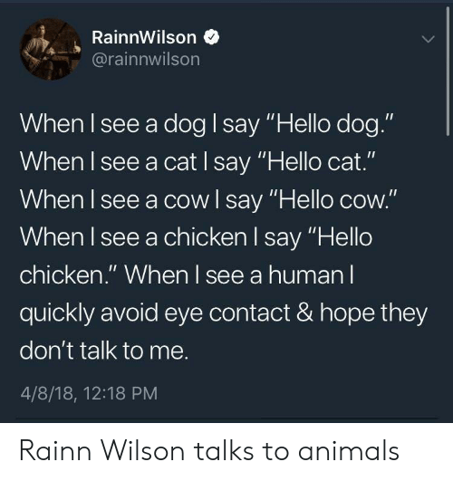 """Rainn Wilson: RainnWilson  @rainnwilson  When I see a dog I say """"Hello dog.""""  When I see a cat I say """"Hello cat.""""  When I see a cowl say """"Hello cow.""""  When l see a chicken l say """"Hello  chicken."""" When l see a human l  quickly avoid eye contact & hope they  don't talk to me.  4/8/18, 12:18 PM Rainn Wilson talks to animals"""