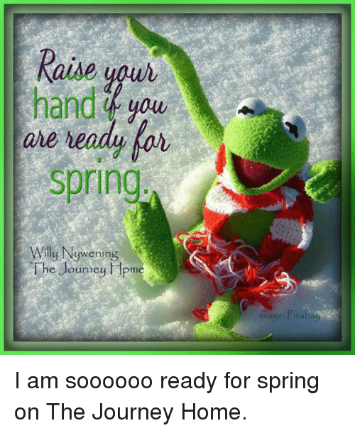 Journey, Memes, and Home: Raise uour  are  spring  Will  y Nywening  mc  mage I am soooooo ready for spring on The Journey Home.