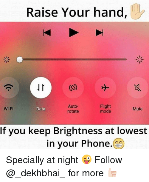 Phone, Mute, and Flight: Raise Your hand  Auto-  Flight  Wi-Fi  Data  Mute  mode  rotate  If you keep Brightness at lowest  in your Phone. Specially at night 😜 Follow @_dekhbhai_ for more 👍🏻