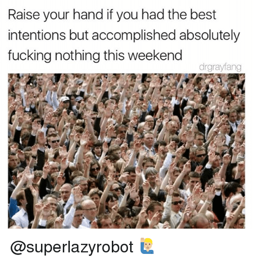 Fucking, Best, and Dank Memes: Raise your hand if you had the best  intentions but accomplished absolutely  fucking nothing this weekend  drgrayfang @superlazyrobot 🙋🏼‍♂️