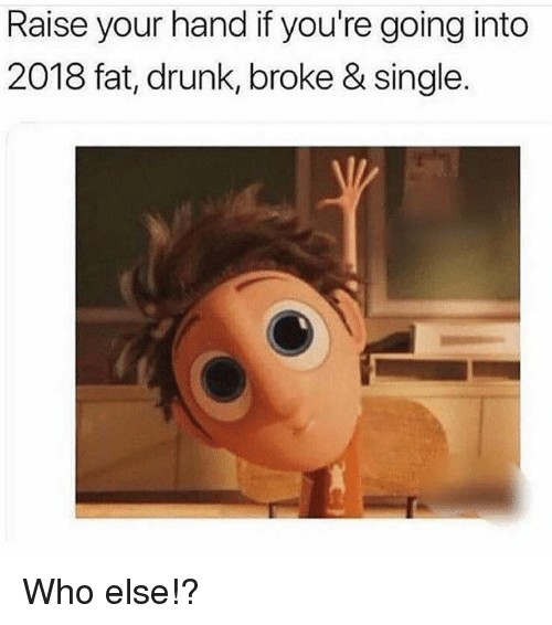 Drunk, Gym, and Fat: Raise your hand if you're going into  2018 fat, drunk, broke & single. Who else!?