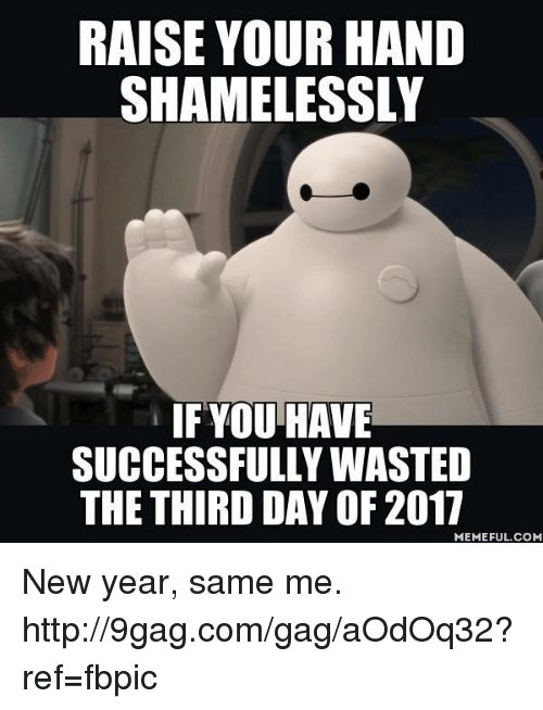 third day: RAISE YOUR HAND  SHAMELESSLY  IF YOU HAVE  SUCCESSFULLY WASTED  THE THIRD DAY OF 2017  MEMEFUL COM New year, same me. http://9gag.com/gag/aOdOq32?ref=fbpic