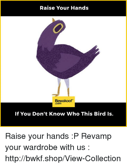 Memes, Http, and 🤖: Raise Your Hands  Bewakoof  .com  If You Don't Know Who This Bird Is. Raise your hands :P  Revamp your wardrobe with us : http://bwkf.shop/View-Collection