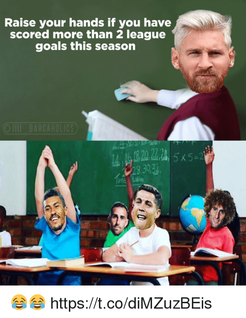 Goals, Memes, and 🤖: Raise your hands if you have  scored more than 2 league  goals this season  28 3032 😂😂 https://t.co/diMZuzBEis
