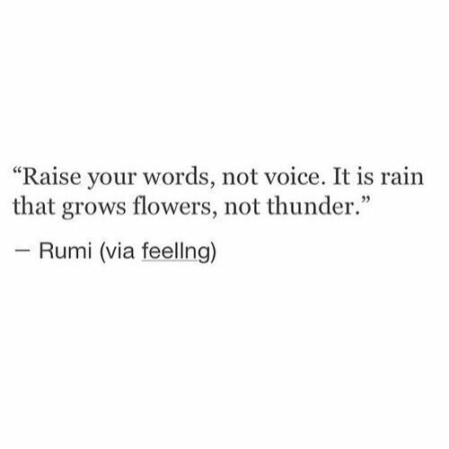 """thunder: """"Raise your words, not voice. It is rain  that grows flowers, not thunder.""""  - Rumi (via feellng)"""