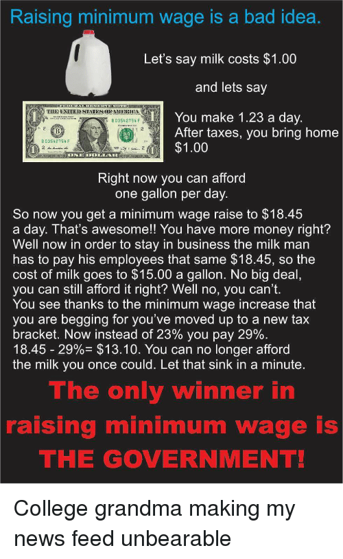Forwardsfromgrandma: Raising minimum wage is a bad idea  Let's say milk costs $1.00  and lets say  TIIE UNITED STATESOEAMERICA  You make 1.23 a day  B 03542754 F  After taxes, you bring home  B 03542754 F  $1.00  Right now you can afford  one gallon per day  So now you get a minimum wage raise to $18.45  a day. That's awesome!! You have more money right?  Well now in order to stay in business the milk man  has to pay his employees that same $18.45, so the  cost of milk goes to $15.00 a gallon. No big deal  you can still afford it right? Well no, you can't.  You see thanks to the minimum wage increase that  you are begging for you've moved up to a new tax  bracket. Now instead of 23% you pay 29%  18.45 29%- $13.10. You can no longer afford  the milk you once could. Let that sink in a minute  The only winner in  raising minimum wage is  THE GOVERNMENT! College grandma making my news feed unbearable